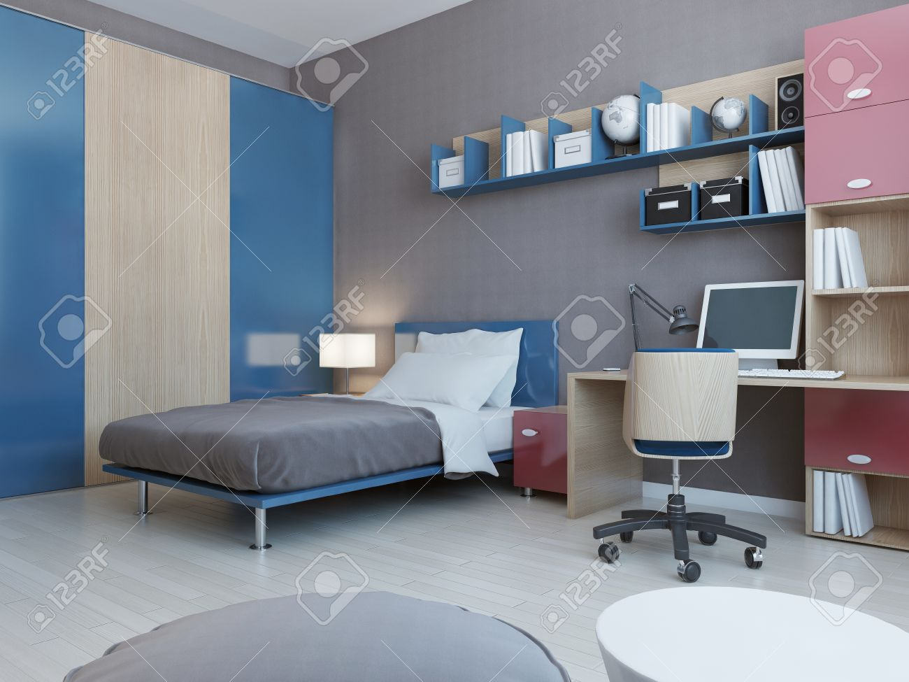View Of Teenagers Bedroom In Red And Blue Colors Light Grey Wall Laminate