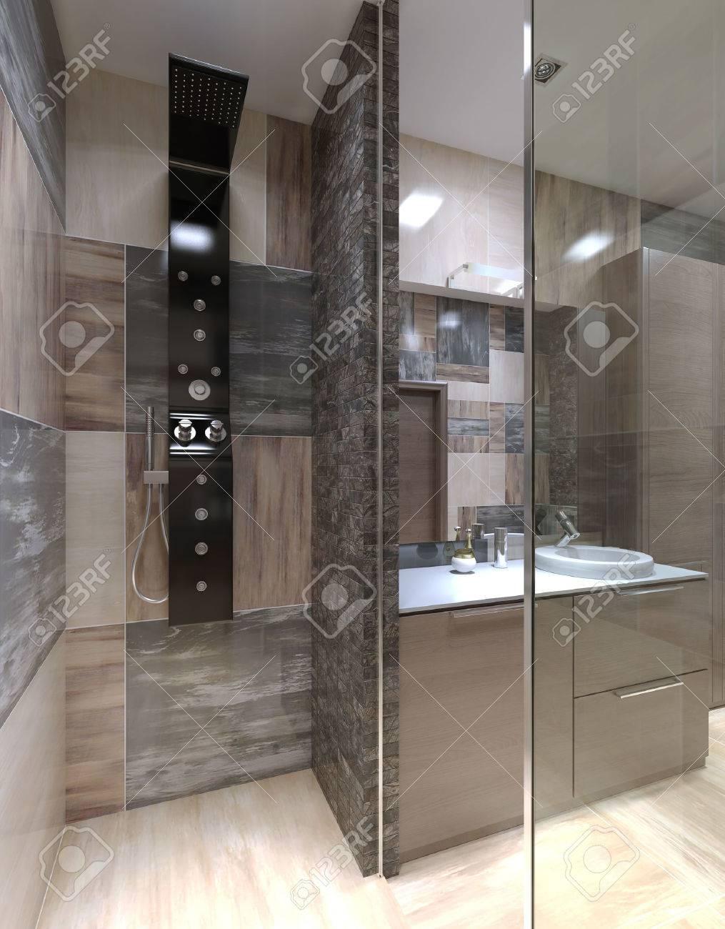 Ducha Minimalista Separado Del Cuarto De Baño. 3D Render Fotos ...