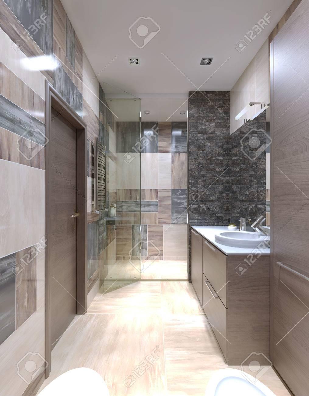 Großes Bad Modern Eingerichtet. Eines Der Ungewöhnlichsten Lösungen, Die  Fliesen An Den Wänden Zu