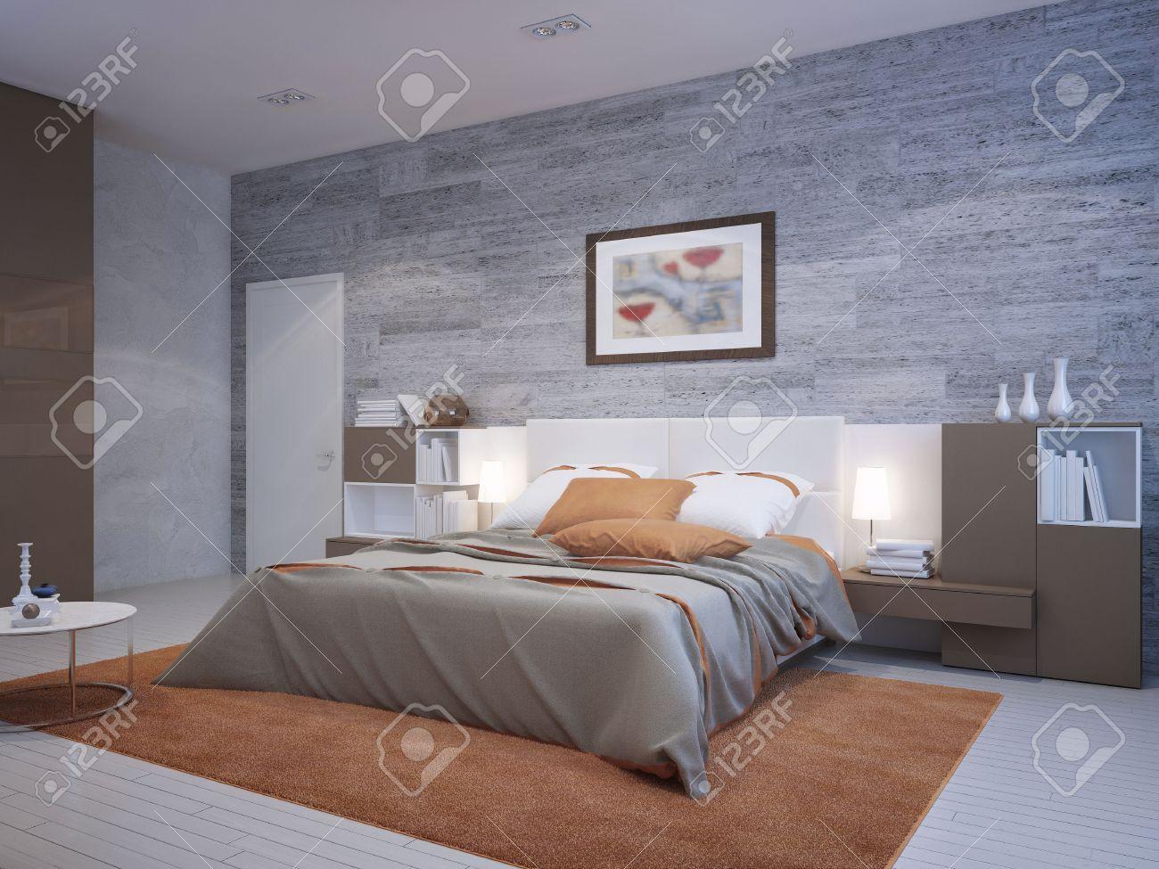 Orange Schlafzimmer Art-Deco-Stil. Mauerwerk Tapete An Den Wänden ...