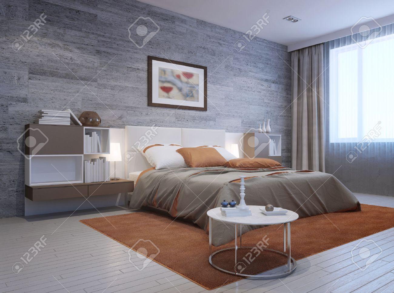 Blick Auf Moderne Schlafzimmer Interieur. Luxus Doppelbett Mit ...