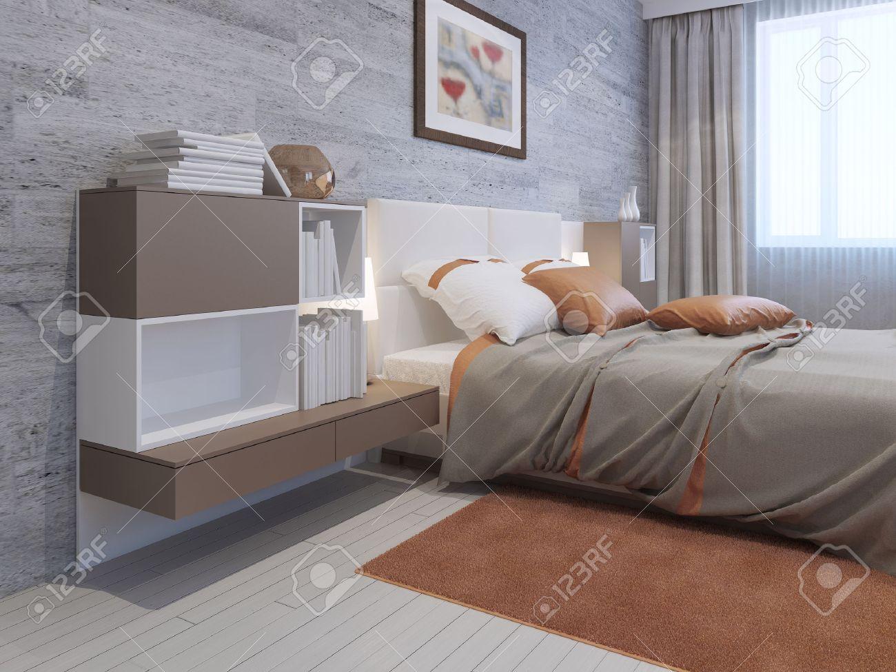 banque dimages mobilier art dco de la chambre chambre avec des murs de papier peint gris maonnerie revtement de sol lamilate lumire