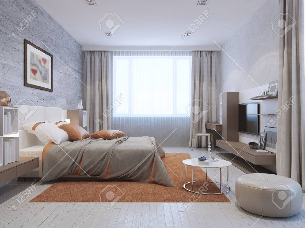 Modern bedroom interior in grey and orange colors. Mixed wall..