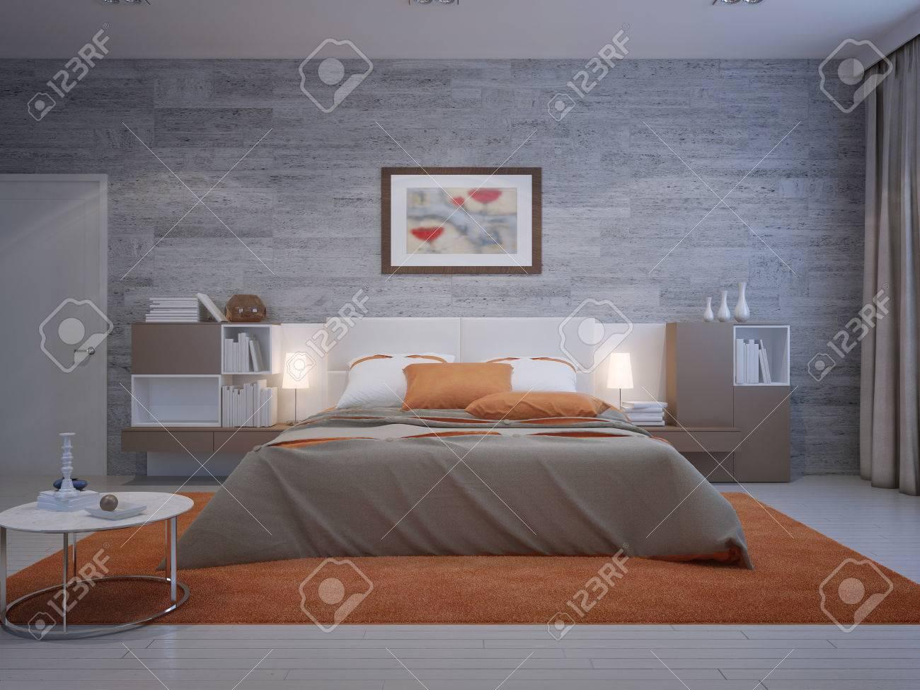 Frontansicht Auf Gemütliche Schlafzimmer Mit Mauerwerk Tapeten Und ...