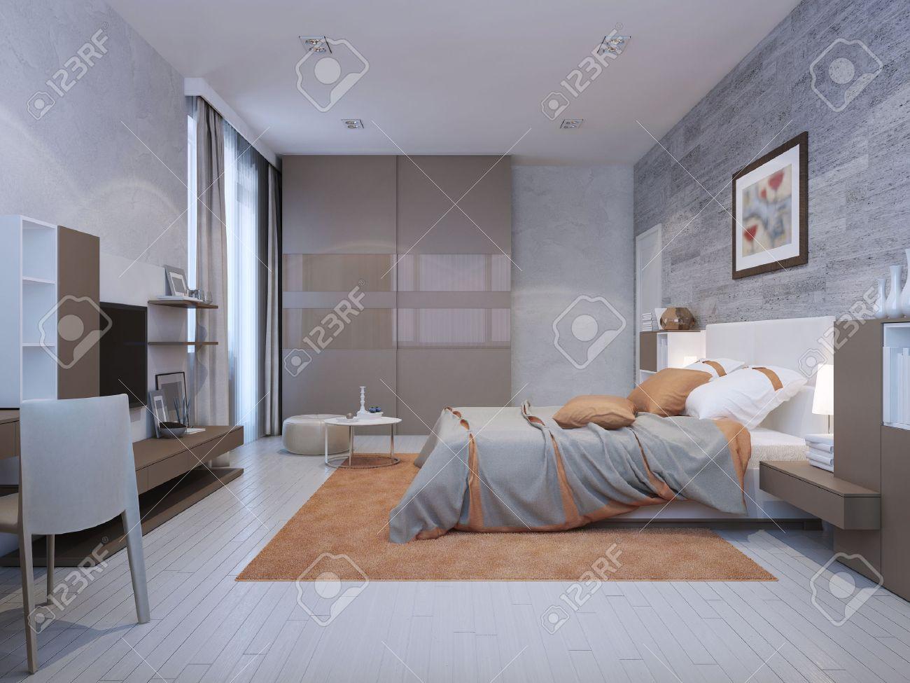 Chambre de style art déco dans des couleurs gris avec des accents d\'orange.  Du sol au plafond placard avec portes coulissantes sur papier glacé. 3D ...