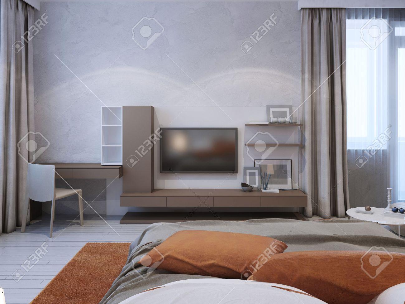 media parete colore taupe in camera da letto contemporaneo. 3d ... - Colori Pareti Interne Camera Da Letto