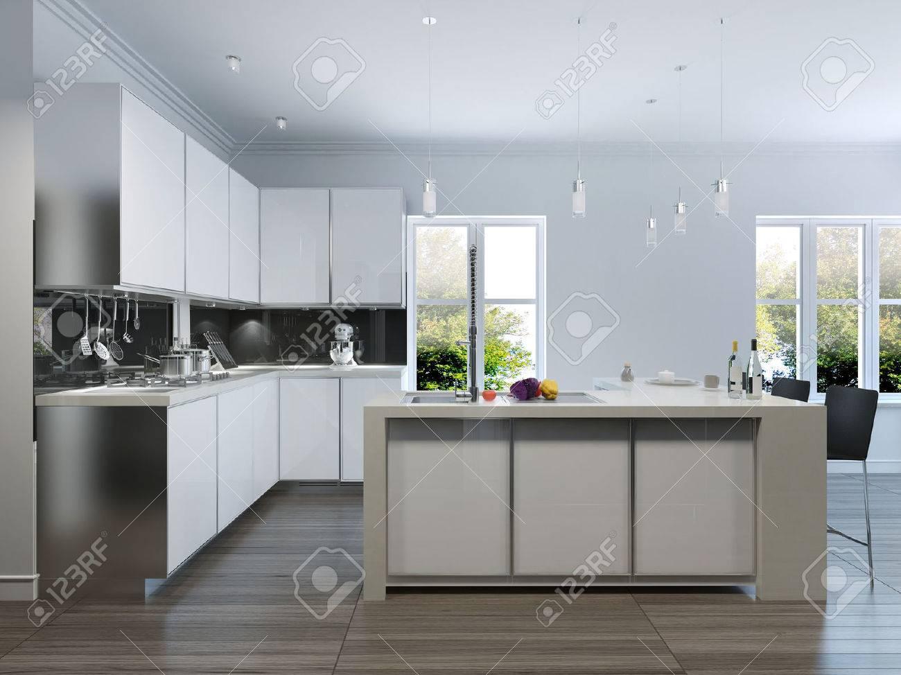 Nice Modern Design Kitchen Interior.3d Render Stock Photo   46425857