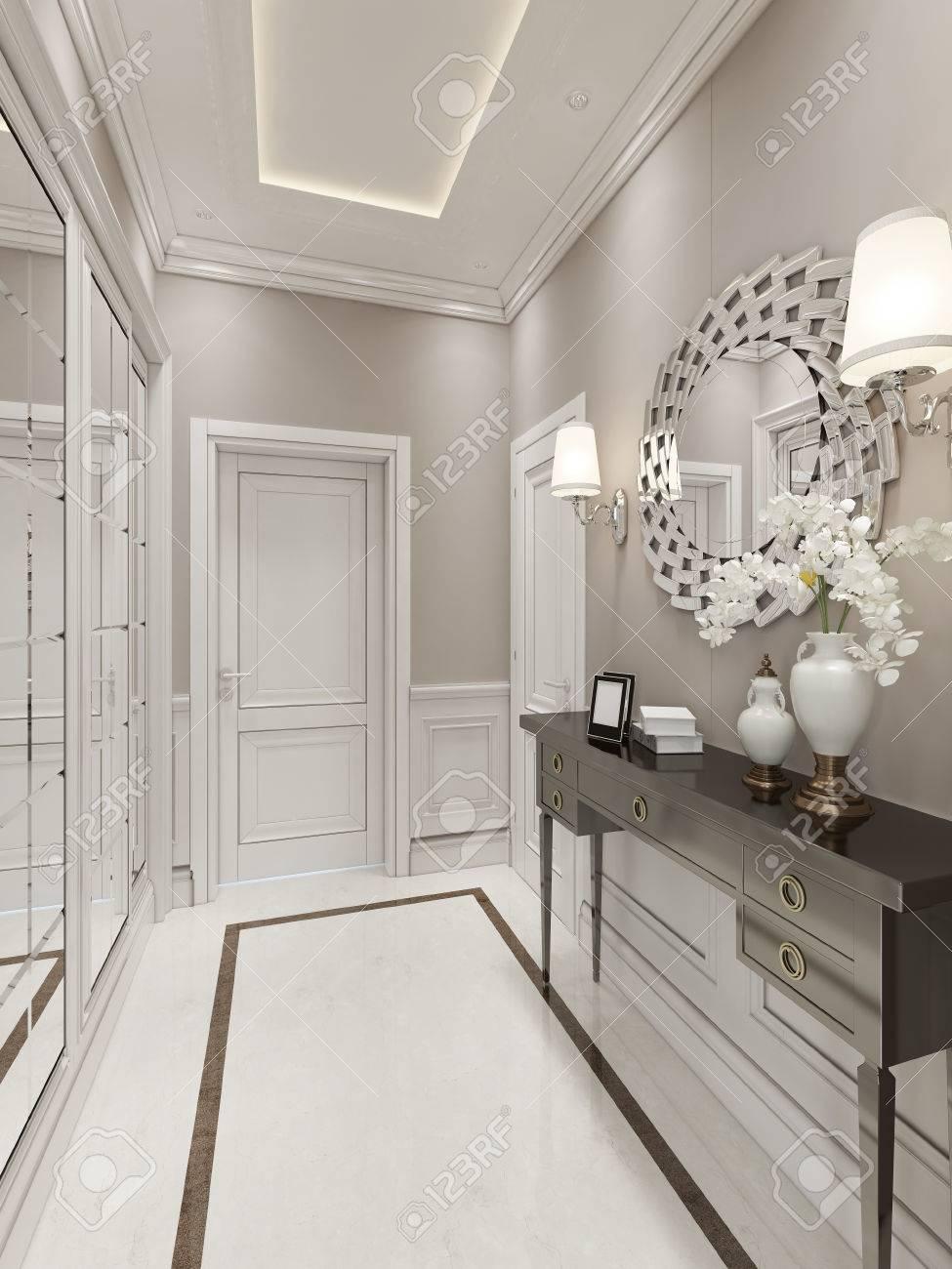 Bright Hallway Art Deco Style.3D Render Stock Photo   46425901