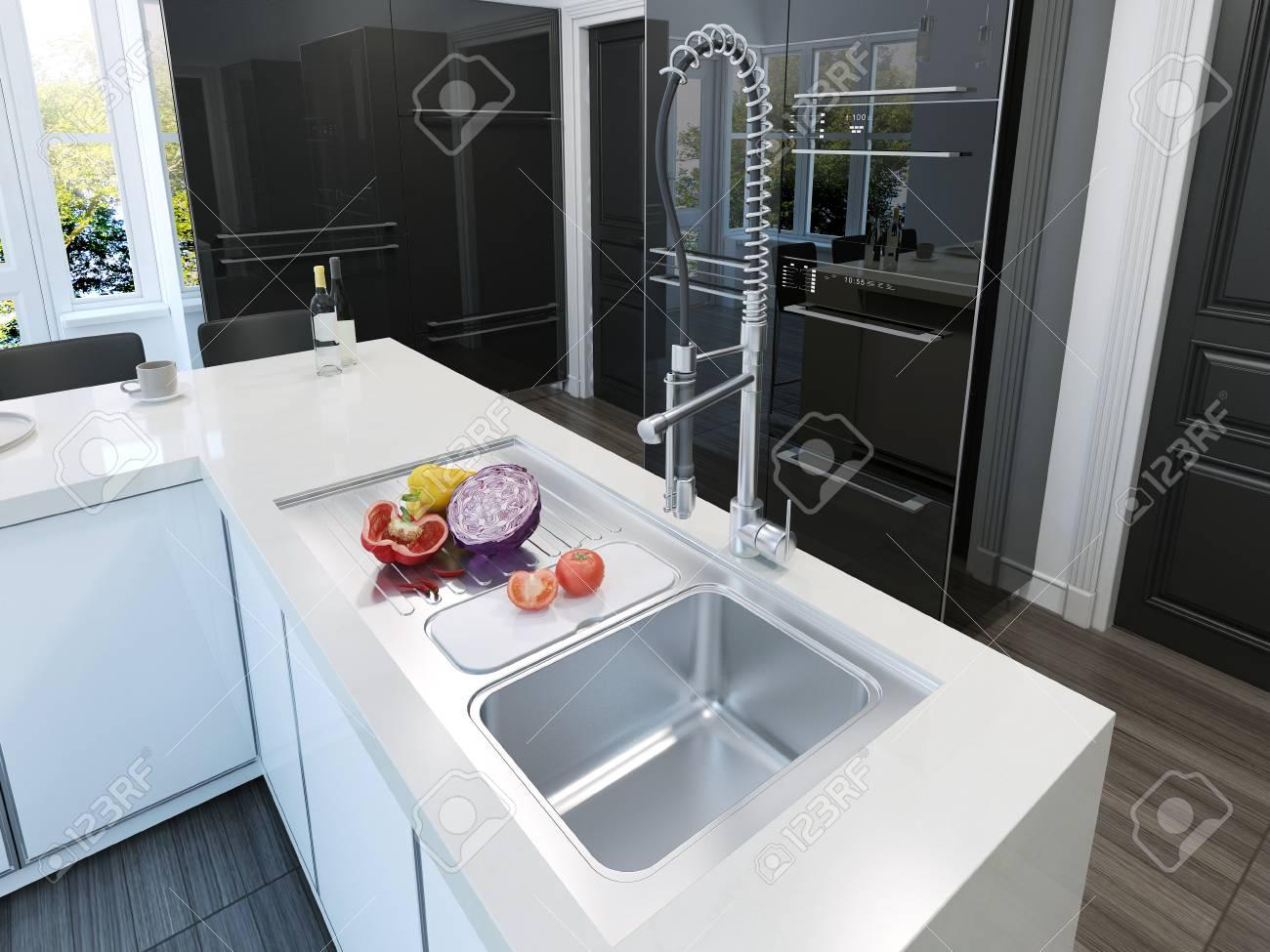 Kücheninsel Moderne. 3D übertragen Lizenzfreie Fotos, Bilder Und ...