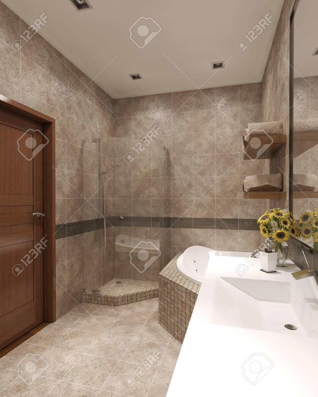 High Tech Bathroom High Tech Bathroom Interior 3d Render Stock Photo Picture And