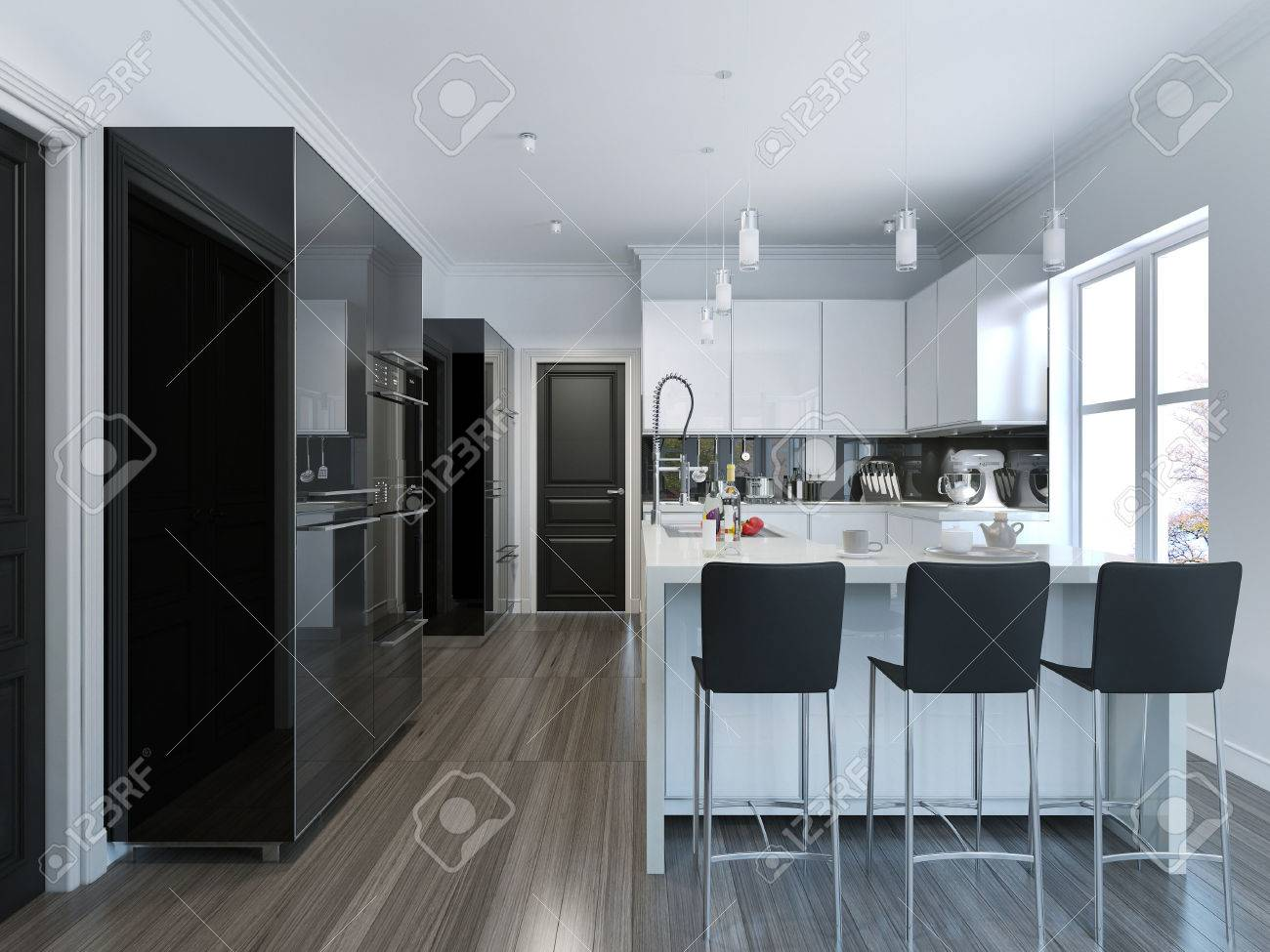 Contemporary Style Kitchen Bar. 3D Render Stock Photo, Picture And ...