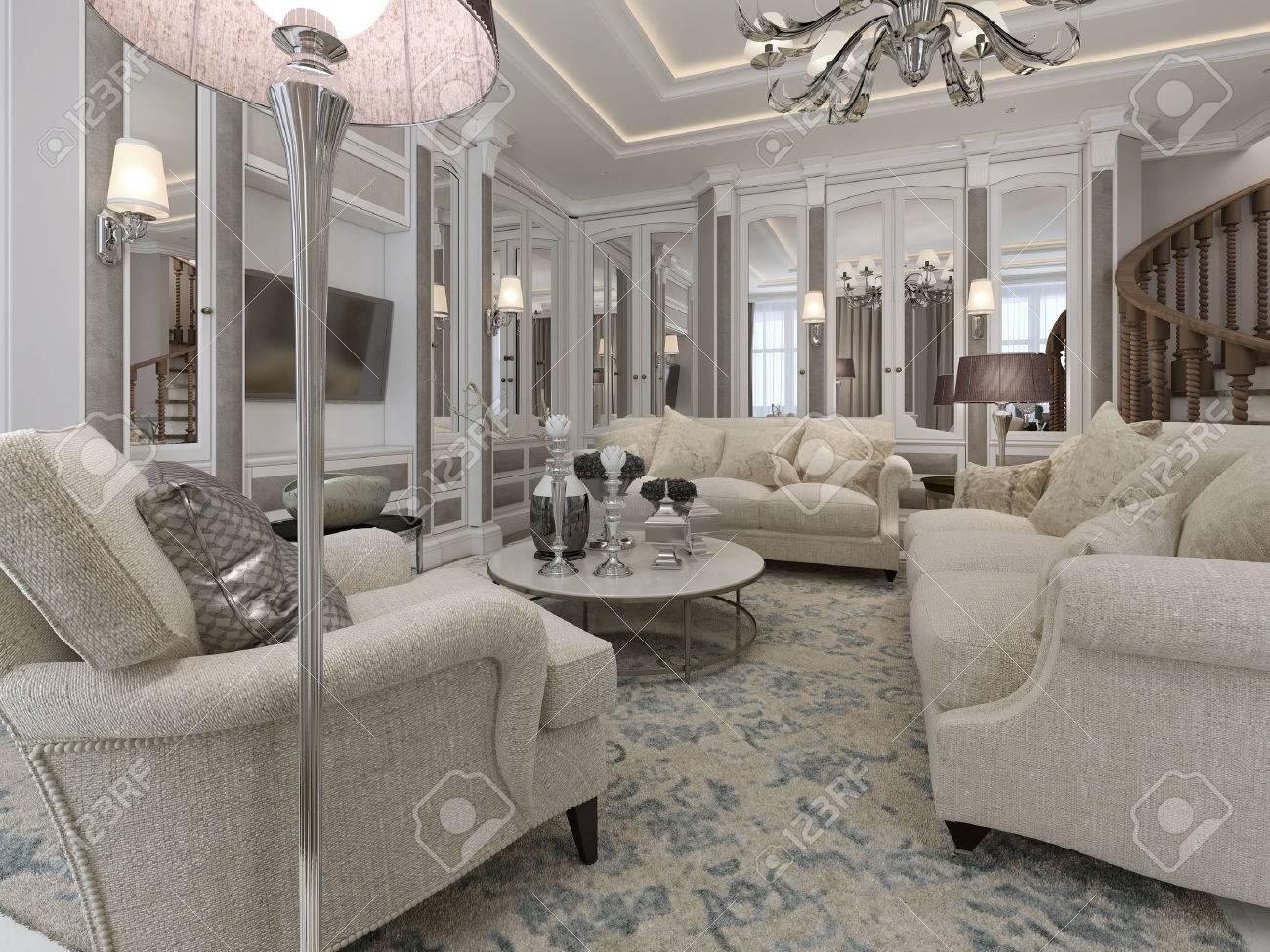 soggiorno di lusso in stile classico. rendering 3d foto royalty ... - Soggiorno Classico Di Lusso 2