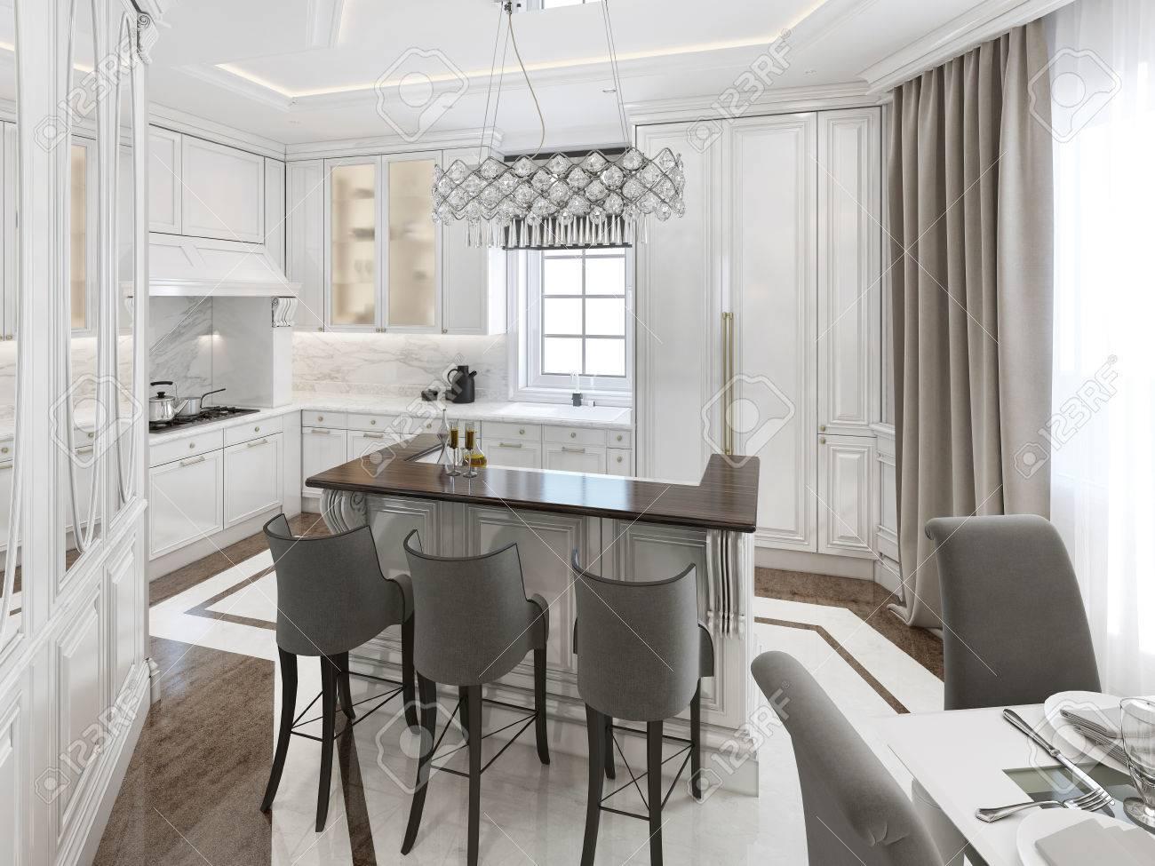 Cucina-sala Da Pranzo In Stile Art Deco. Rendering 3D Foto Royalty ...