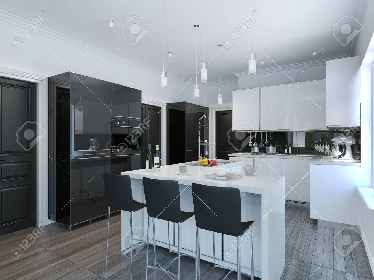 Moderne Küche Bar. 3D übertragen Lizenzfreie Fotos, Bilder Und Stock ...