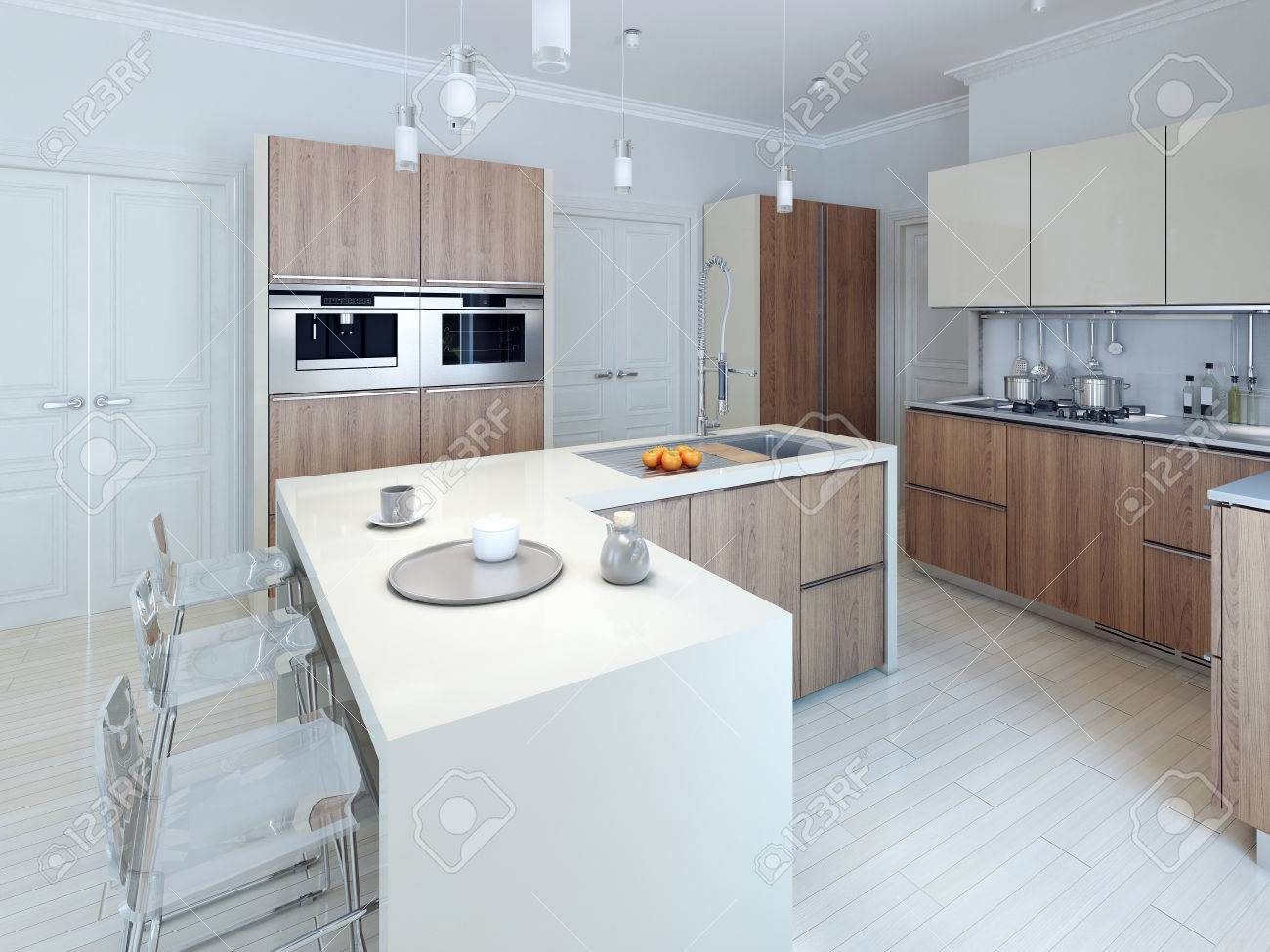 Modern Functional Kitchen Design. 3d Render Stock Photo, Picture And ...
