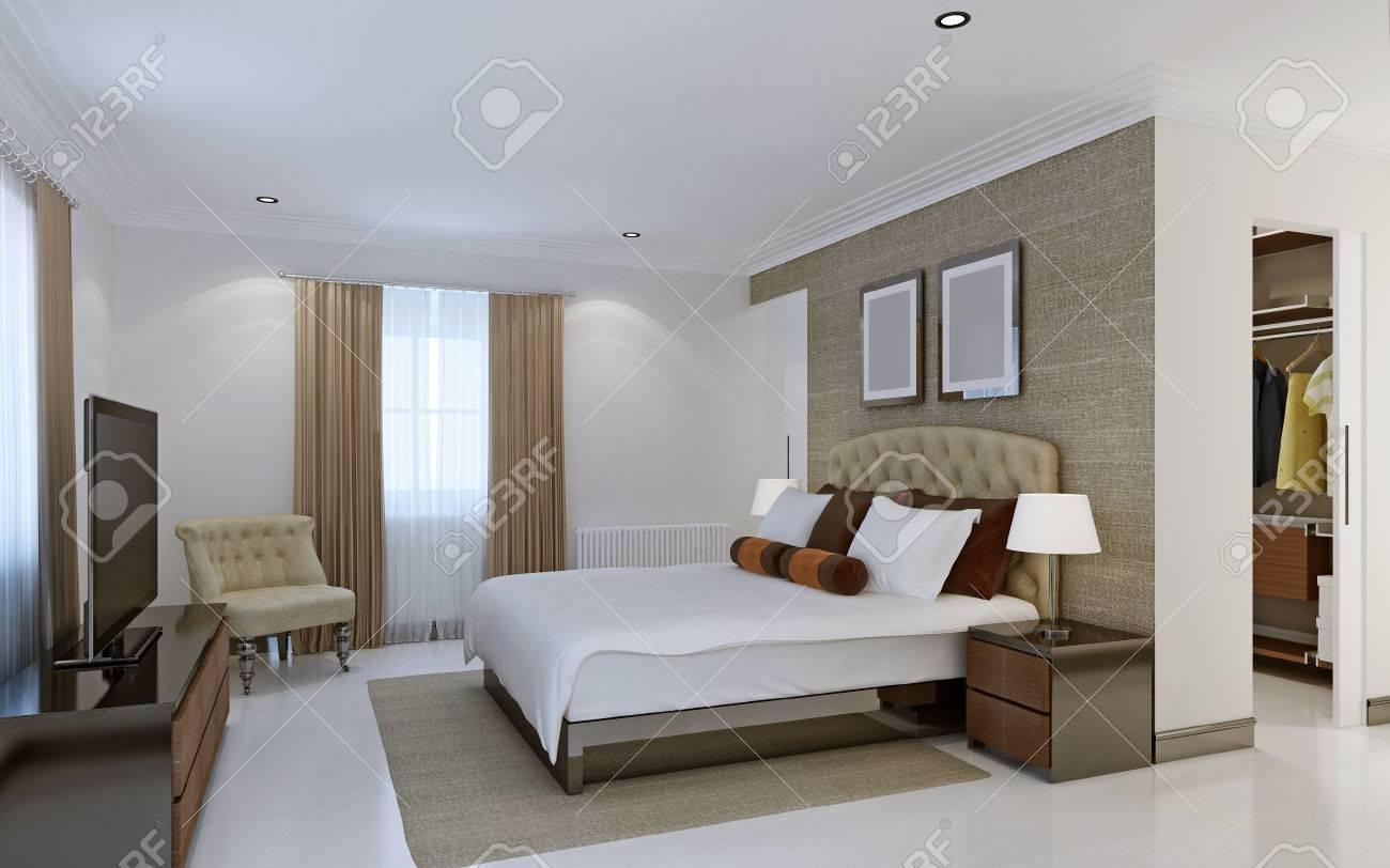 luminosa camera da letto con cabina armadio. rendering 3d foto ... - Cabina Armadio Camera Da Letto
