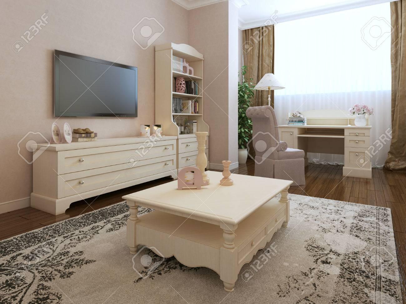 Art-Deco-Schlafzimmer Interieur. 3d Render Lizenzfreie Fotos, Bilder ...