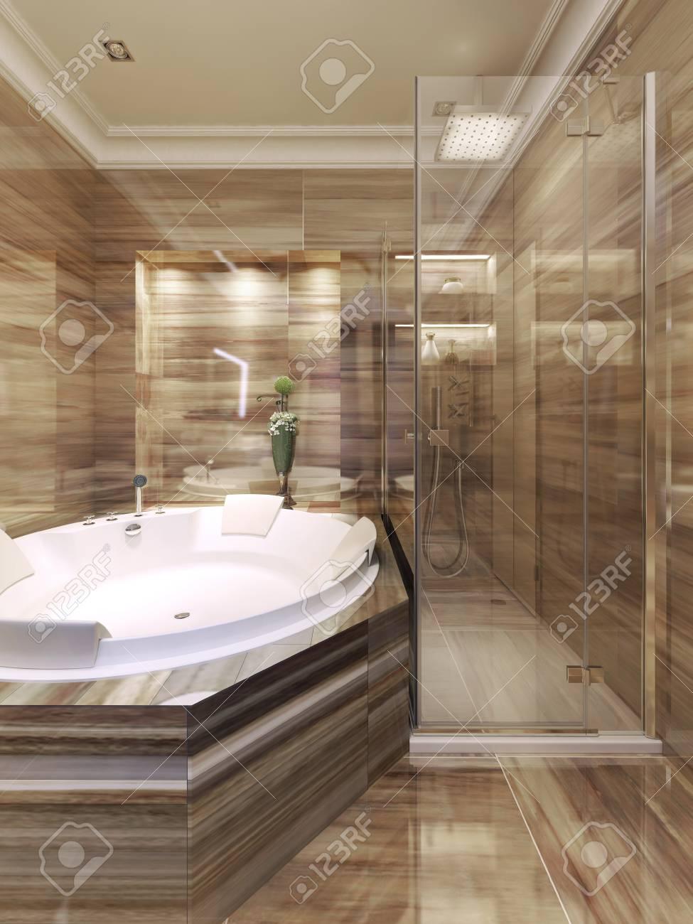 Salle de bain Art déco avec douche. Rendu 3D