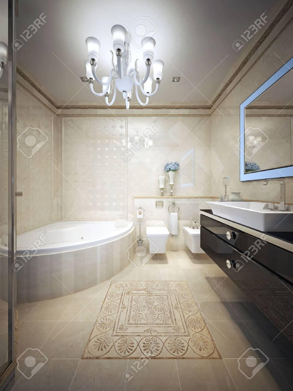 Cuarto de baño de estilo vanguardista. 3d