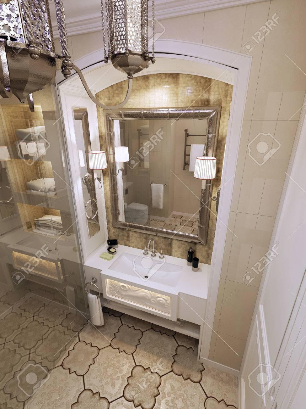 Bathroom moroccan style - Eastern Bathroom Moroccan Style 3d Render Stock Photo 47276972