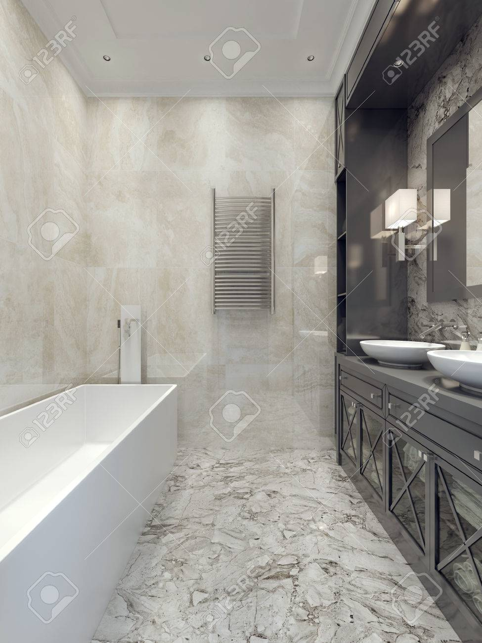Art deco bathroom style. 3d render