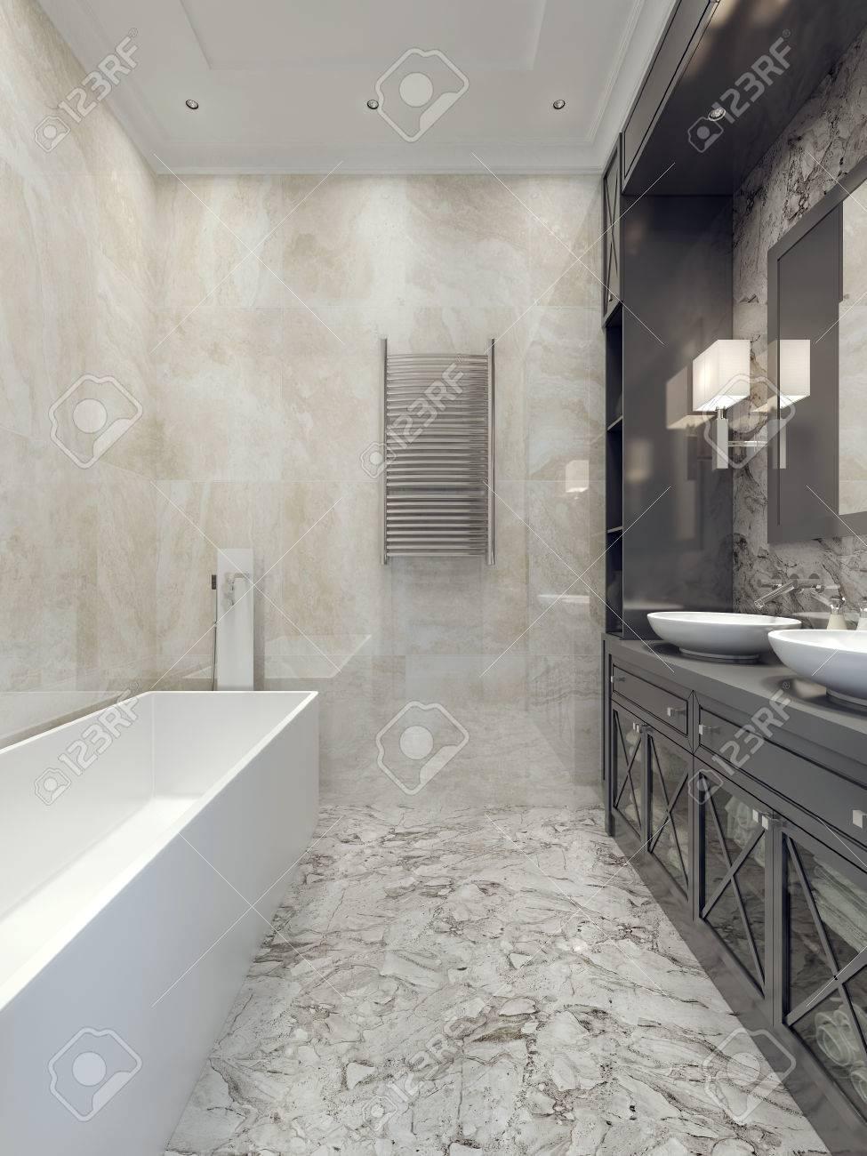 Style de salle de bain Art déco. Rendu 3D