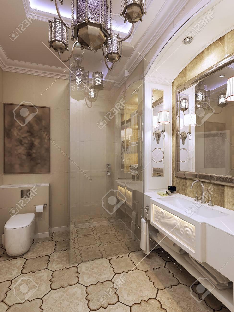 Légante salle de bain de style marocain. Rendu 3D