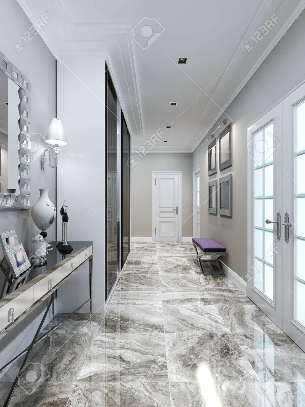 Art deco entrance hall design. 3d render