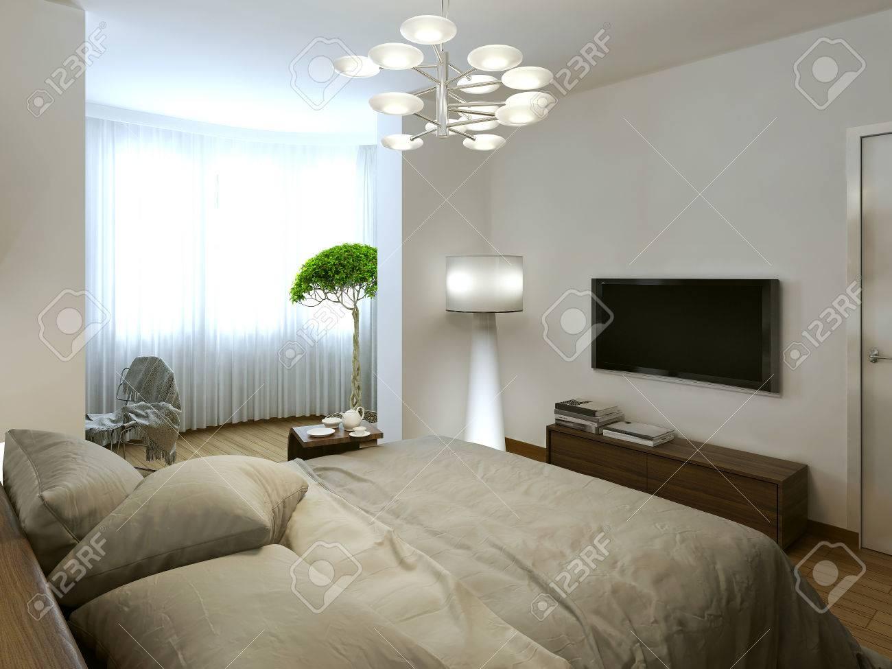 Schlafzimmer Zeitgenössisches Interieur, 3D-Bilder Lizenzfreie Fotos ...