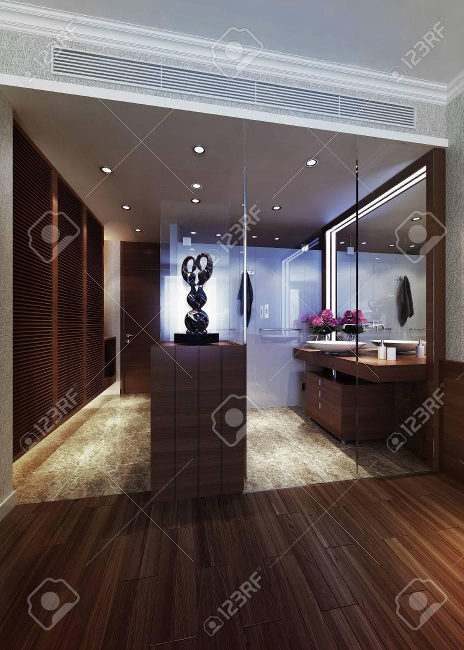 Entre La Salle De Bain, En Chambre D\'hôtes. Images 3d Banque D ...
