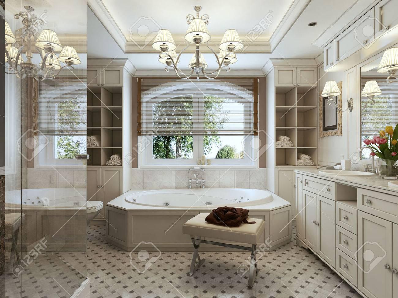Salle de bains Art déco. 3d render