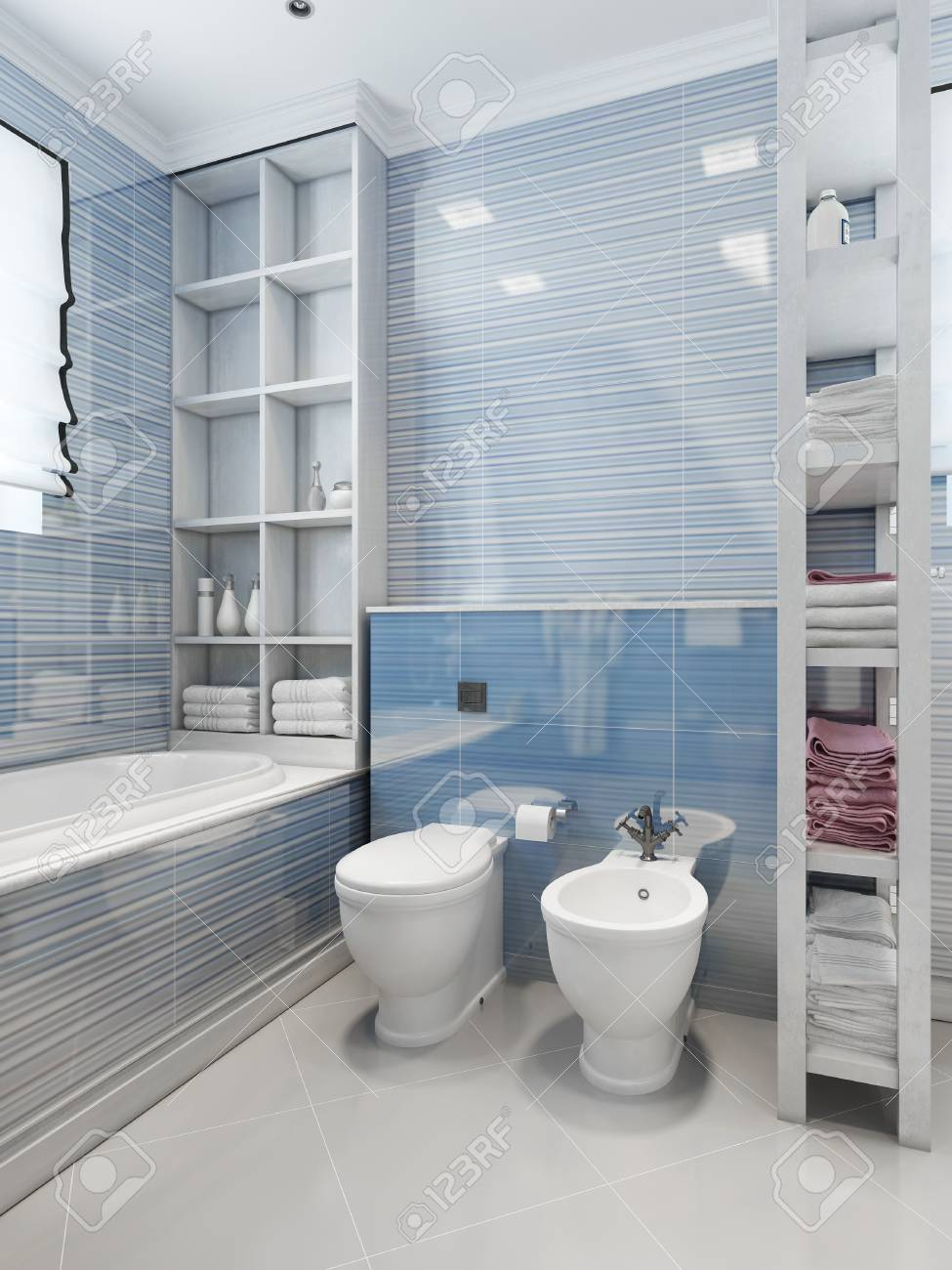 Bathroom Art Deco Style. 3d Render Stock Photo, Picture And Royalty ...