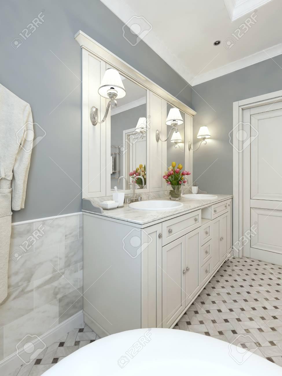 Lumineuse salle de bains de style Art déco. 3d render