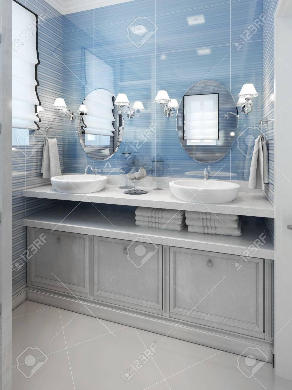 Salle de bains de style Art Déco. 3d render