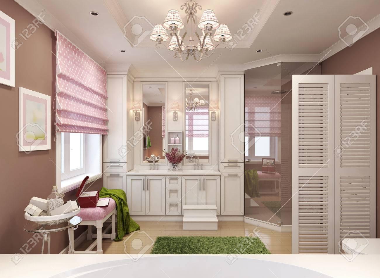 Lame Pvc Salle De Bain Avis ~ salle de bains classique pour les filles 3d render banque d images