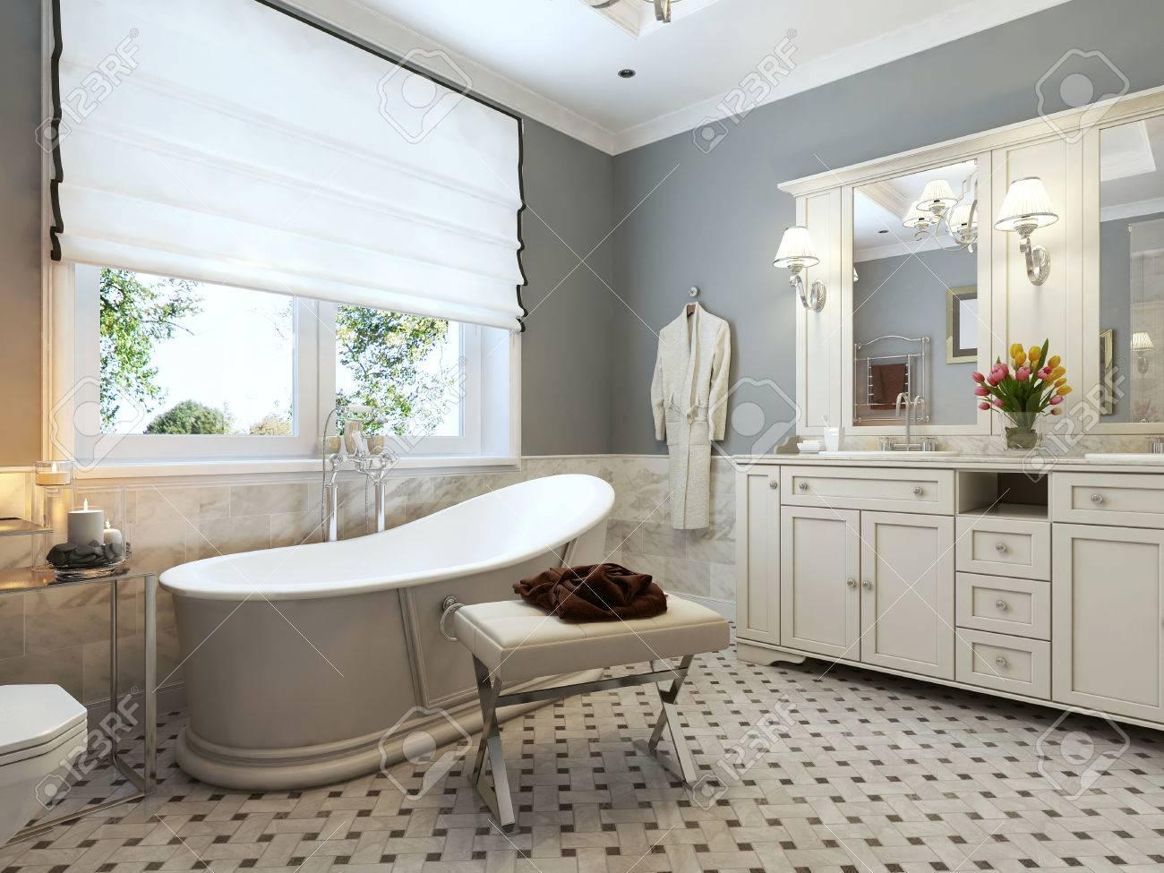 bathroom classic design. Bright Bathroom Classic Design. 3d Render Stock Photo - 47273569 Design O