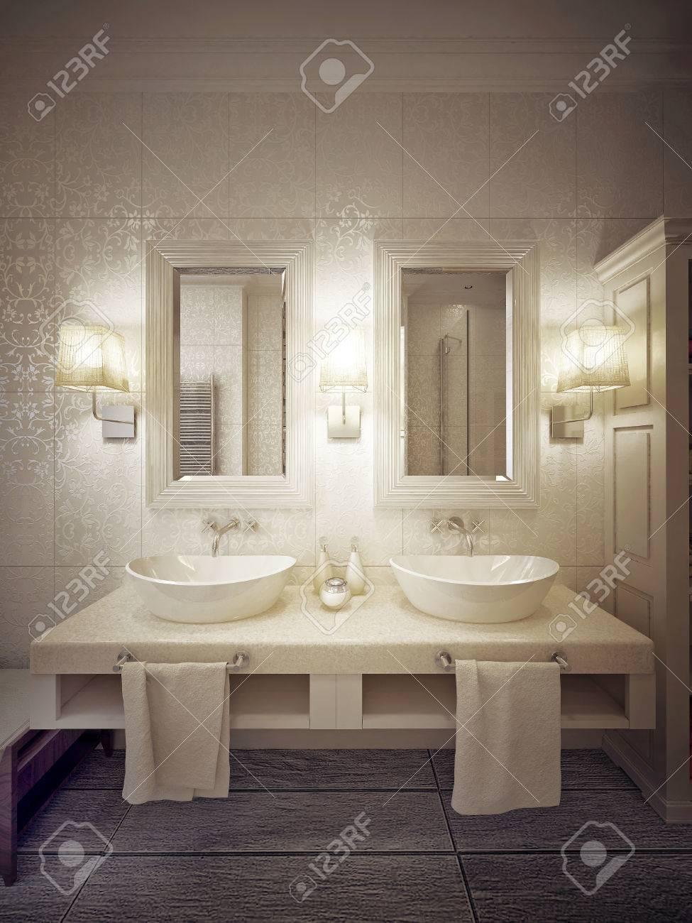 Un moderno cuarto de baño con dos lavabos de consola en blanco y beige. 3d.