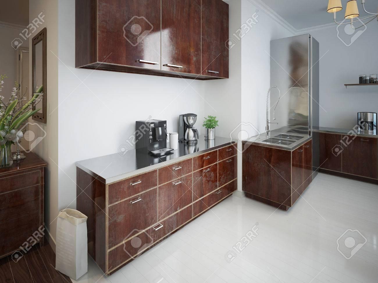 Cocina Contemporánea Con Muebles De Madera De Color Marrón. 3d ...