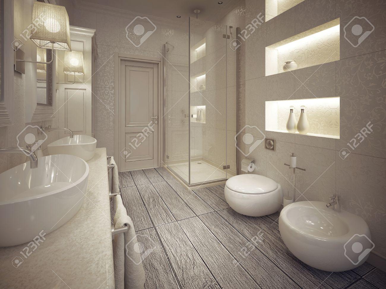 Cuarto de baño moderno con ducha y bidet con estantes por encima ...
