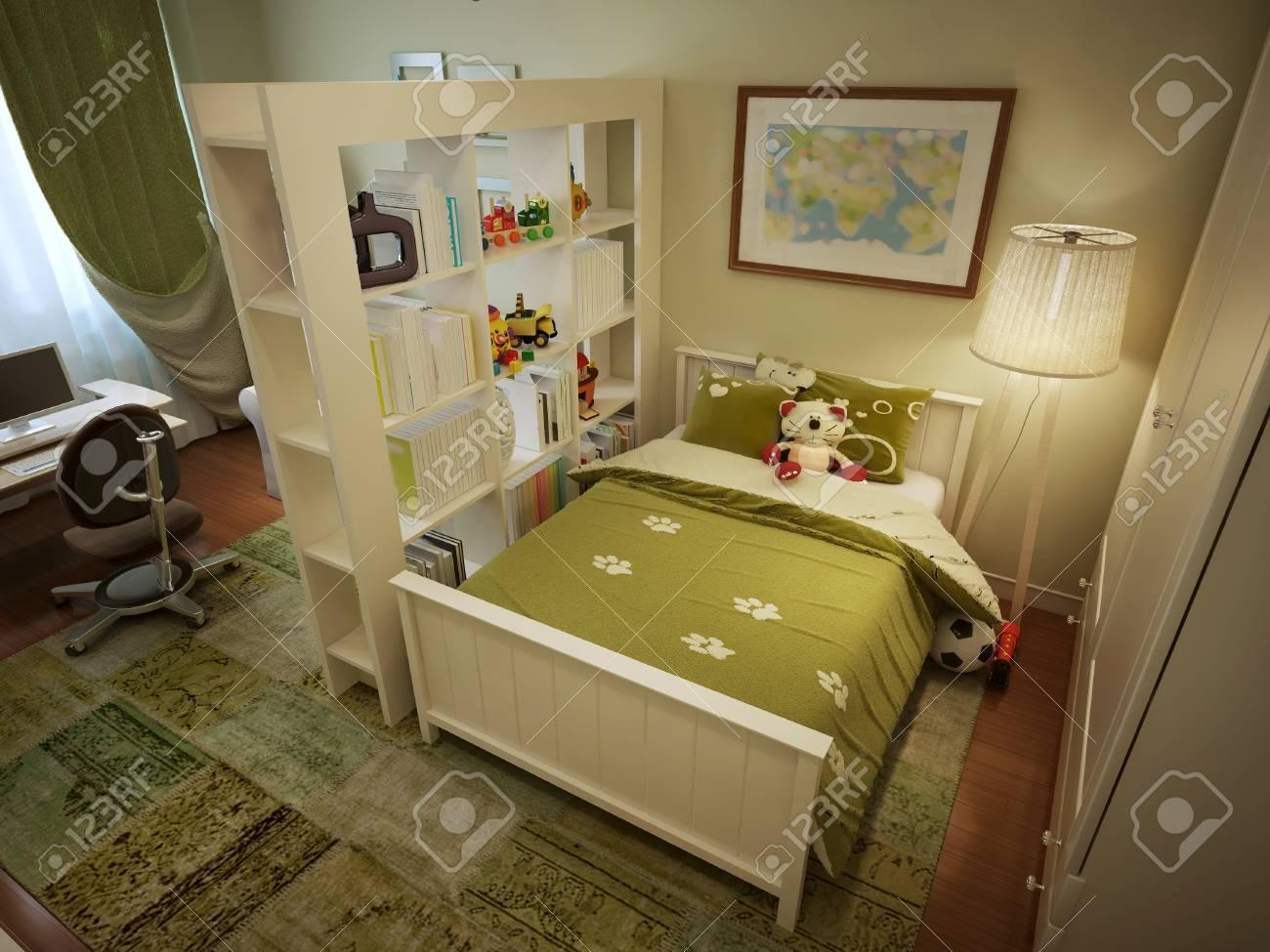 Chambre D\'enfant Pour Le Lit Du Garçon Avec Des étagères Et Un ...