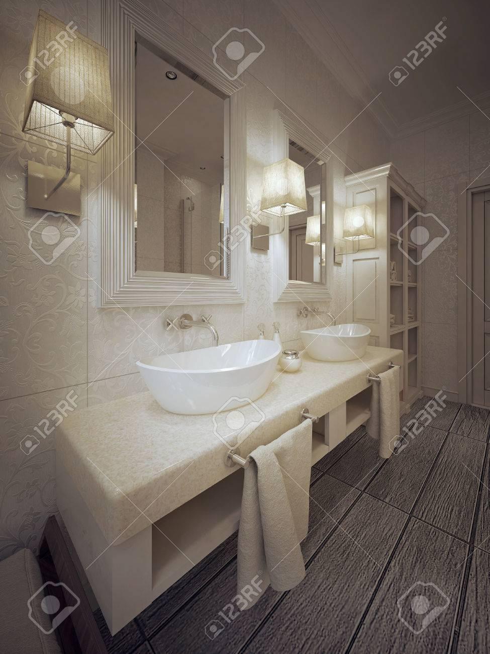 Elegant Ein Modernes Bad Mit Zwei Waschbecken Konsole In Weiß Und Beige.  3D Darstellung.