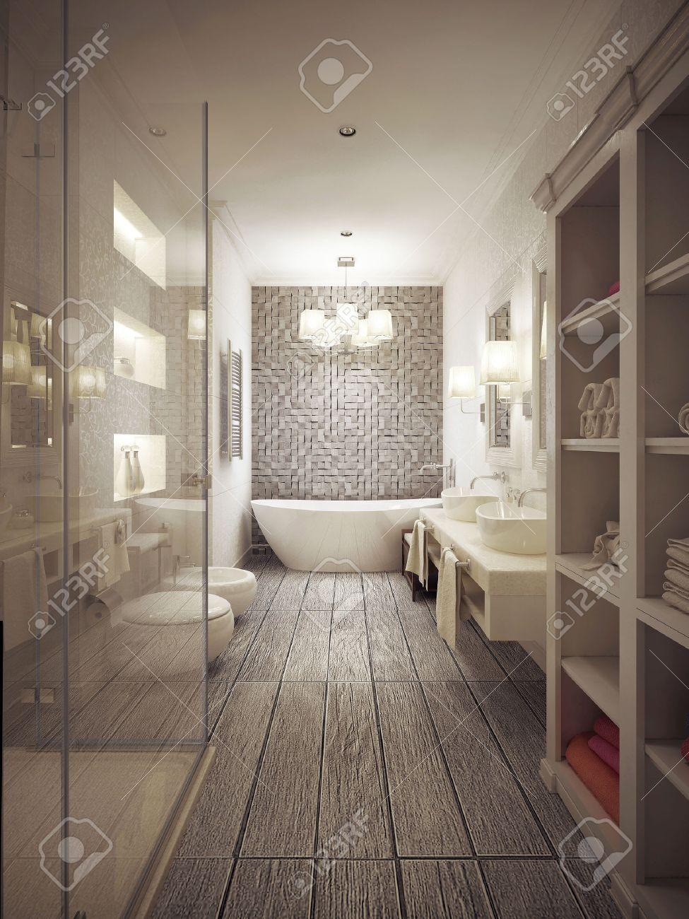 Fürdőszoba Provance-i Stílusban Mintás Csempe Bézs Tónusok. 3d ...