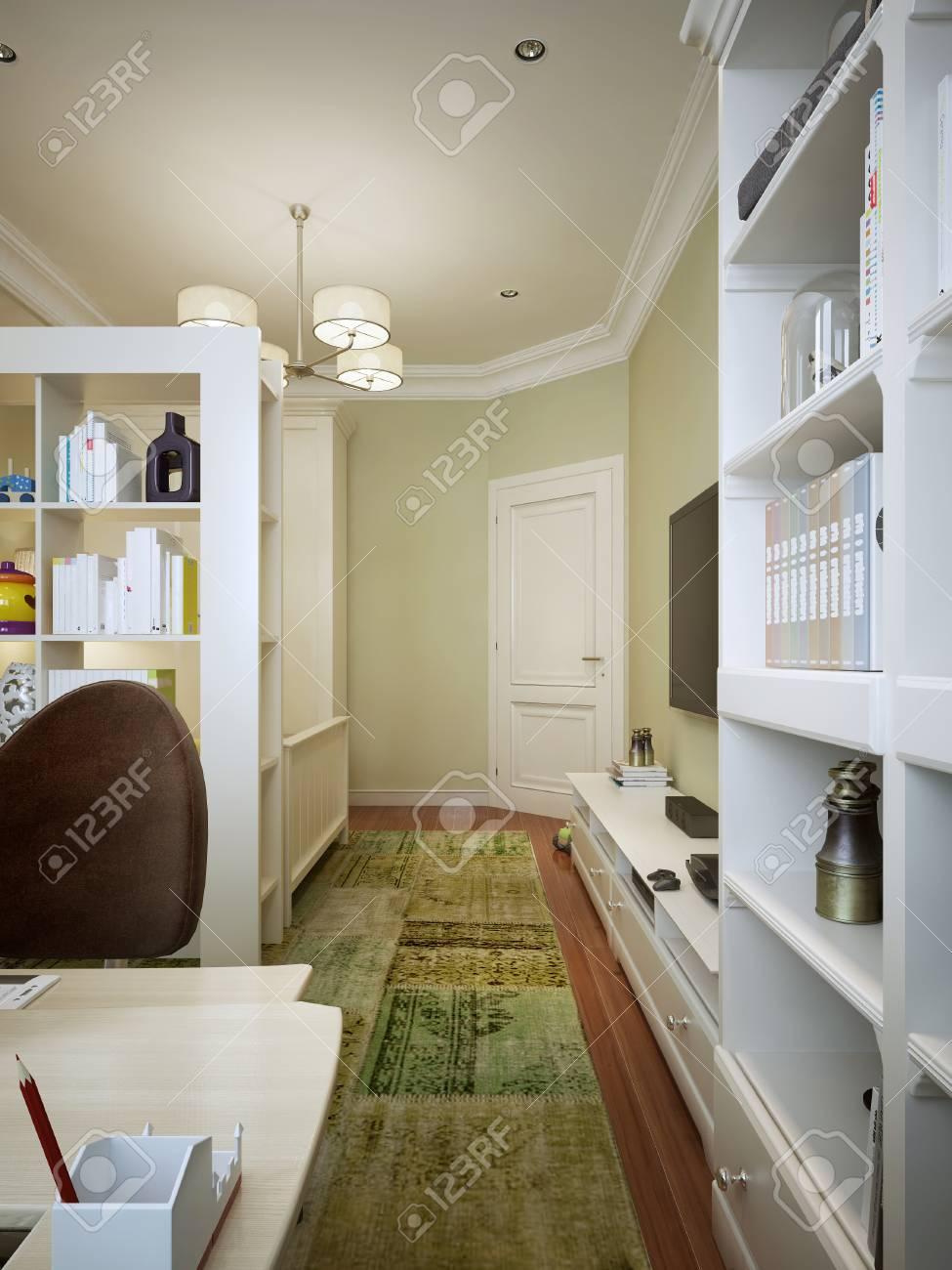 Baby Mit Weißen Möbeln Und Olivenwänden In Einem Zeitgenössischen ...