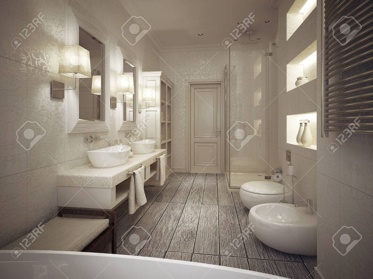 The Bathroom Is A Classic Style With Patterned Tiles In Beige ...