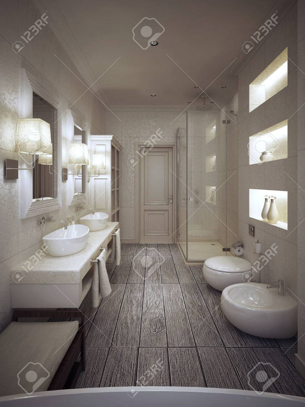 Salle De Bain Provencale bathroom in provencal style in beige and white tones. 3d render.