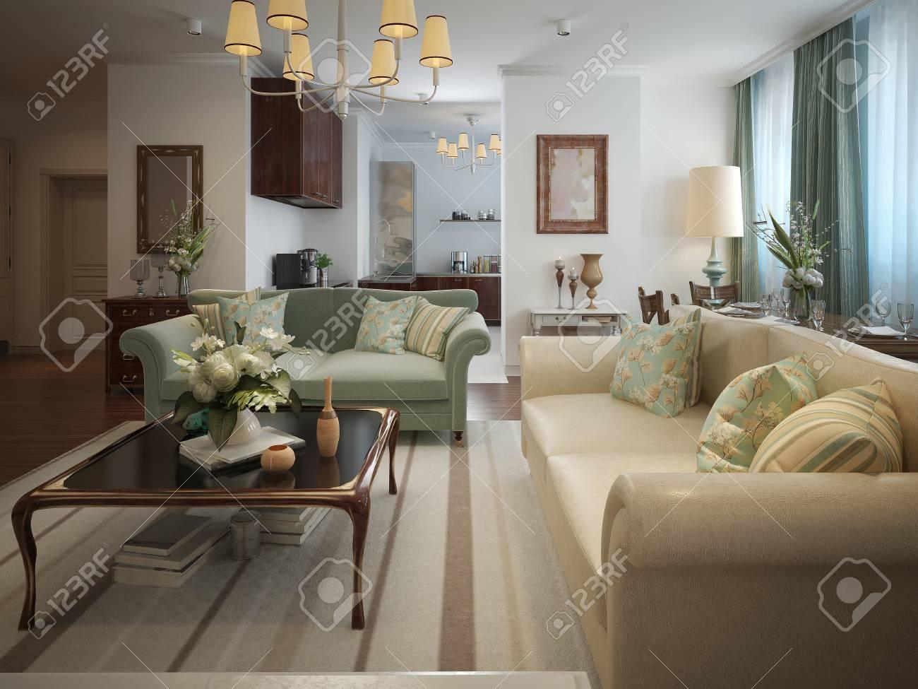 Wohnzimmer Im Neoklassizistischen Stil Mit Warmen Farben. In Beige ...