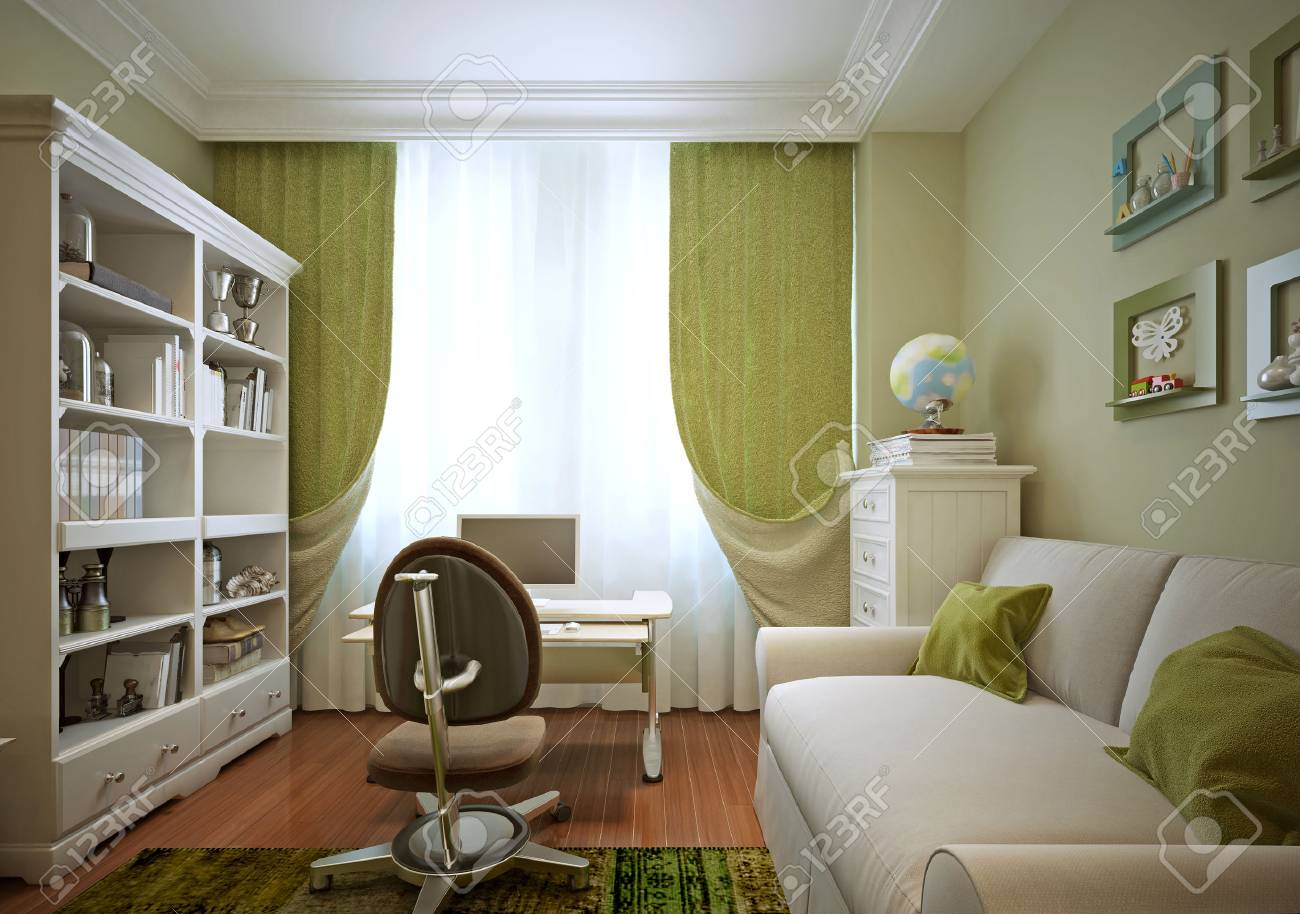 Children s room for a boy in a modern style d visualization