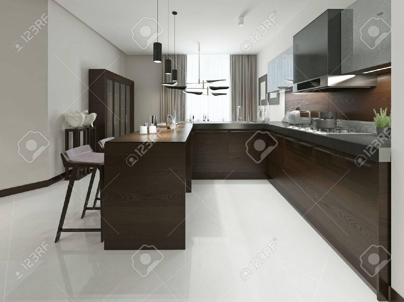 Meuble De Cuisine Bois Et Metal intérieur d'une cuisine moderne avec bar et tabourets de bar. cuisine  meubles en bois avec des inserts métalliques dans des tons bruns et gris.  3d