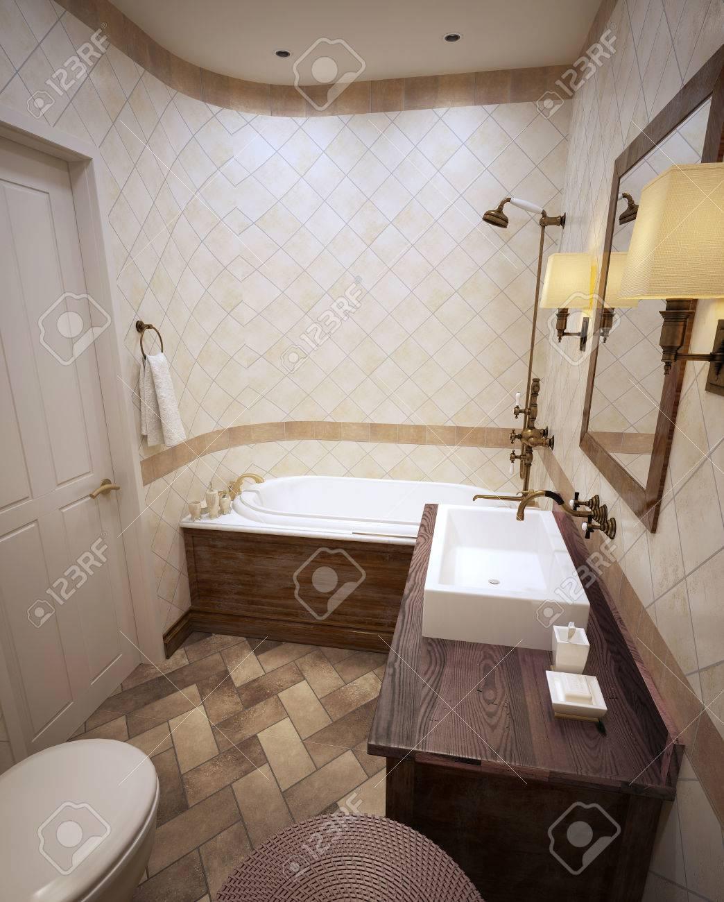 Klassische Badezimmer In Beigetönen Mit Holzmöbeln Braun. 3d ...