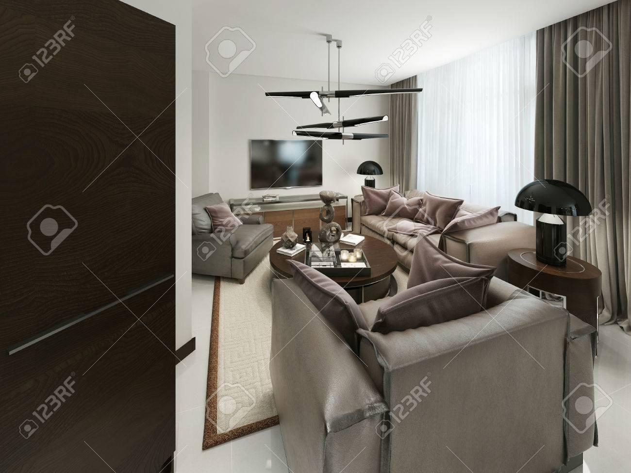 Modernes Wohnzimmer Mit Sitzgelegenheiten Und Media Storage. Die ...